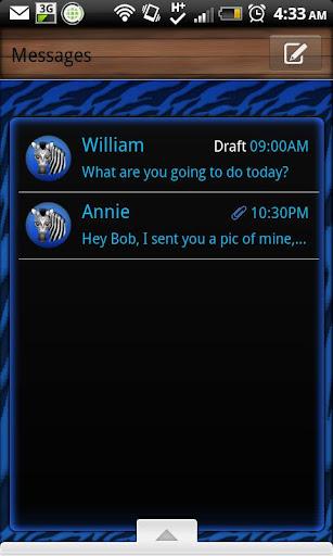 GO SMS - Blue Zebra 3D