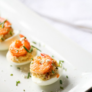 Buffalo Shrimp Deviled Eggs