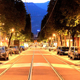 A lonely street in grenoble by Gagan Sharma - City,  Street & Park  Street Scenes ( street, night, view, light, city )
