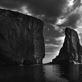 Rocher Perçé by Bruno Gallant - Landscapes Caves & Formations ( clouds, b&w, quebec, dramatic, perçé )