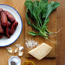 Grilled Sausage with Arugula Pesto