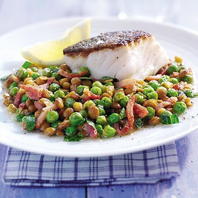 Braised Peas With Bacon, Lentils & Cod