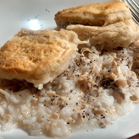 Chicken and Rice With Biscuits On Top
