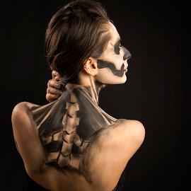 Nina 8786 by Keith Darmanin - People Body Art/Tattoos ( scary, skull, fashion, wierd, kitz klikz, art, nina, keith darmanin, skeleton, photography, black,  )
