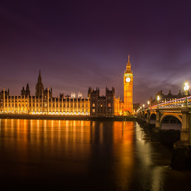 Big Ben by Sheldon Anderson - Buildings & Architecture Public & Historical ( parliament, london, night photography, 2014, dramatic, night, big ben, bridge, scenic, nights capes, river )