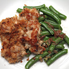 Mario Batali's Chicken Thighs with Garlicky Crumbs and Snap Peas