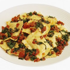 Ravioli with Arugula, Tomatoes and Pancetta