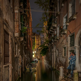 Waiting for you. by Jesus Giraldo - City,  Street & Park  Street Scenes ( water, waiting, colors, boats, art, romantic, reflections, solitude, architecture, city, lights, urban, magic, delicate, venice, buildings, composition, night, man,  )