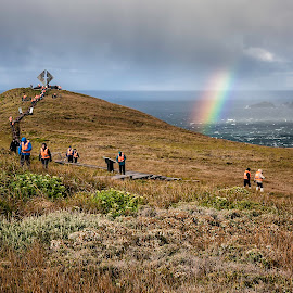 Cape Horn Magic by Karen Celella - People Street & Candids ( mountain, ocean, travel, group, rainbow, people, crowd, historic, humanity, society )