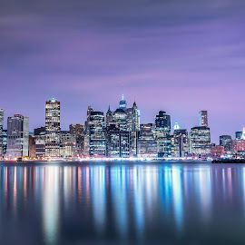 Manhattan at night by Mariya Miteva-Simon - City,  Street & Park  Skylines ( manhattan skyline, night view, night photography, night lights, night scene, manhattan, new york city, new york, night shot, nightscape )