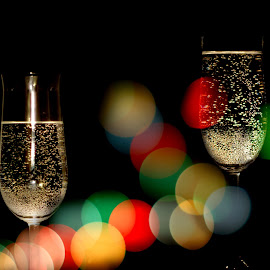 Happy new year! by Iva Aviana - Artistic Objects Glass ( lights, new year, drink, glass, pleasure, toast, bokeh )