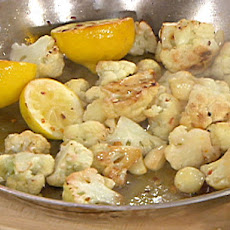 Baked Cauliflower with Sliced Garlic, Lemon and Olive Oil