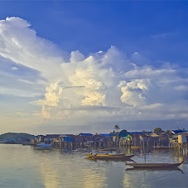 Fishing Village by Dwi Yulianto - Landscapes Cloud Formations ( water, beaches, sunrises, nature, sunsets, landscape )