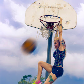 Dunk by Victoria Anthony - Sports & Fitness Basketball ( clouds, basketball, ball, sky, girl, neon, jump, tennis shoes, photoshop )