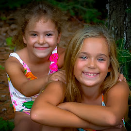 Contentment by Michael Haagen - Babies & Children Child Portraits ( sisters, peaceful, contentment, happy, summer fun, smiles,  )