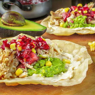 Shredded Chicken Tostadas with Raspberry Serrano Chutney