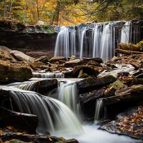 Oneida Falls by Michael Sharp - Nature Up Close Natural Waterdrops ( water, pa, fall foliage, waterfall, fall, pennsylvania, oneida falls 13', united states, ricketts glen )