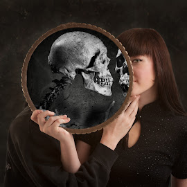 kiss by Dave Lord - Digital Art People ( mirror, kiss, skull, mandolin, surreal,  )