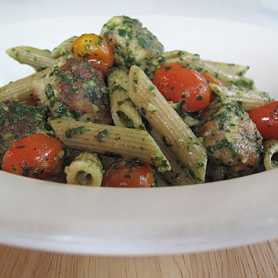 Whole Wheat Pasta with Chicken Meatballs and Spinach Pesto