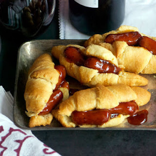 Glazed Cocktail Sausage and Crescent Roll Sandwiches