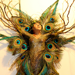 Woodland Fairy by Leah Zisserson - Artistic Objects Other Objects ( sculpture, nature, fairy, feathers, woods, , color, colors, landscape, portrait, object, filter forge )