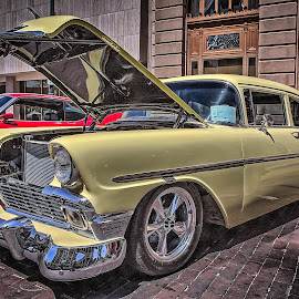 Blacktop Nationals - Yellow Chevy by Ron Meyers - Transportation Automobiles