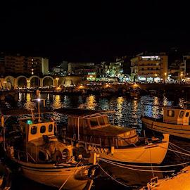by Αντώνης Ανδρουλάκης - Landscapes Travel ( crete, port, instacrete, instanight, boats, colors, heraklion, greece, sea )