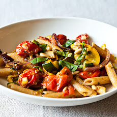 Penne with Sweet Summer Vegetables, Pine Nuts, and Herbs