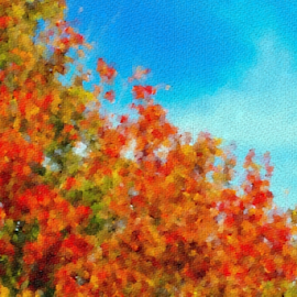 Boone County Kentucky Arboretum in the Fall by Maureen McDonald - Digital Art Places ( leaves on canvas, fall leaves, digital art, boone county arboretum, kentucky,  )