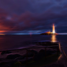 Lighthouse at Night by Dee Tee - Buildings & Architecture Other Exteriors ( sky, lighthouse, dark, sea, night, light,  )