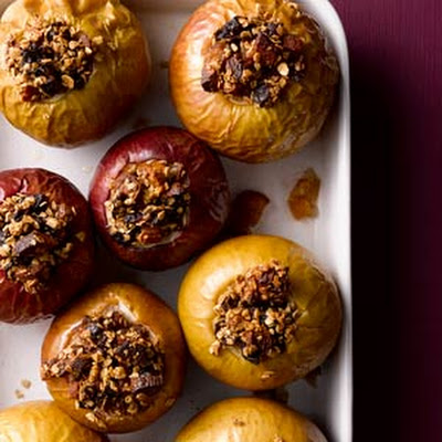 Stuffed Baked Apples with Maple Yogurt Cream