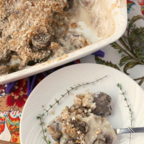 Mushroom Gratin Casserole {Low Calorie, Low Fat, Healthy, Vegetarian}