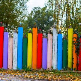 Colorful crayons by Laurentiu Andrei - City,  Street & Park  Amusement Parks ( fence, colorful, kids, kindergarten, crayons )
