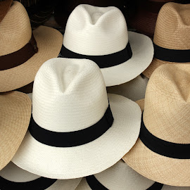 Brown and White Panama Hats by Robert Hamm - Artistic Objects Clothing & Accessories ( otavalo, craft, brim, ecuador, texture, handmade, material, hat, panama hat, market, accessory, color, outdoor )