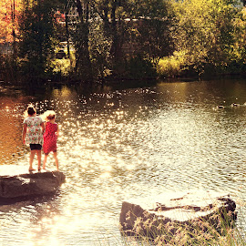 Young girls enjoy the outdoors by Marco Antonio - City,  Street & Park  City Parks ( montreal, la fontaine park, quebec, autumn )