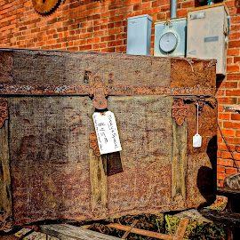 Only $45.00 by Barbara Brock - Artistic Objects Antiques ( old furniture, old trunk, rusty trunk )