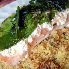 Salmon With Cream Cheese, Spinach & Garlic