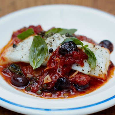 Baked White Fish With Olives & A Simple Tomato Sauce