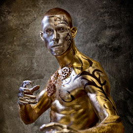 Fight Club by Paul Baybut - People Portraits of Men ( warrior, battle, fight, fight club, male, combat, metallic, gold, body paint, golden, man, martial arts )