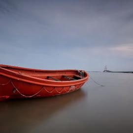 Orange Boat by Lutfi Rachman - Transportation Boats