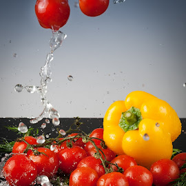 Falling... by Klaudia Klu - Food & Drink Fruits & Vegetables ( water drops, pepper, tomatoes, Food & Beverage, meal, Eat & Drink )