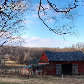 Baby, It's Cold Outside by Kim Thomas-Hein - Buildings & Architecture Other Exteriors ( field, farm, red, new england, barn, landscape )