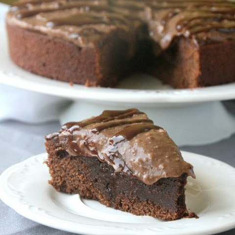 Fudgy Brownie Cake with Chocolate Pudding Frosting (dairy free!)