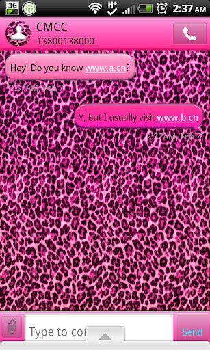 GO SMS - Pink Leopard SMS