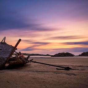 Bád Eddie, Magherclogher Beach by Ryszard Lomnicki - Landscapes Cloud Formations ( ireland, magherclogher beach, sunset, bunbeg, long exposure, bunbeg wreck, bád eddie, donegal, , Beach, blue, water, ocean. , #GARYFONGDRAMATICLIGHT, #WTFBOBDAVIS )