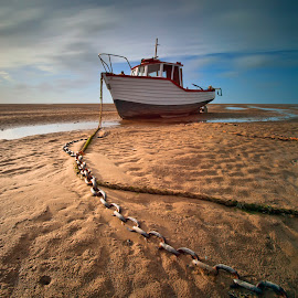 Maggie R.... by Darrell Bate - Transportation Boats ( canon, lansdscapea, lee filters, sand, transport, chains, boats, sea, seascape, sun, skies )