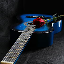 The blues by Dipali S - Artistic Objects Musical Instruments ( music, rose, song, blue, melody, guitar, instrument, tune, romance )