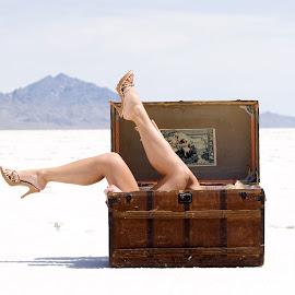 by Cameron VanAusdal - People Body Parts ( sexy, bonneville salt flats, legs, high heels, steamer trunk )