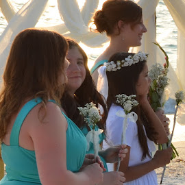 Beautiful Bride Maids all in a row by Carmella Dunkin - Wedding Ceremony ( brides bouquet, floral bouquet, brides maids, wedding, flower girl, floral, flower, bouquet )