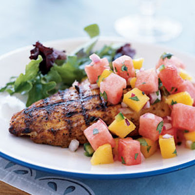 Marinated Grilled Chicken Breast with Watermelon-Jalapeno Salsa